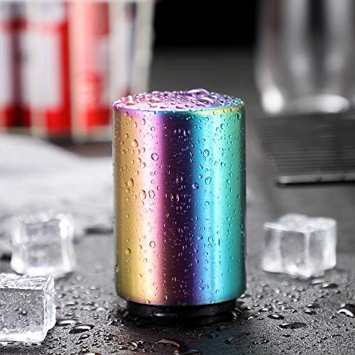 Baomasir Automatischer Flaschenöffner/Kapselheber, Zum Öffnen von Kronkorken-Flaschen, Gebürstetes Aluminium, Push&Pull, Farbe