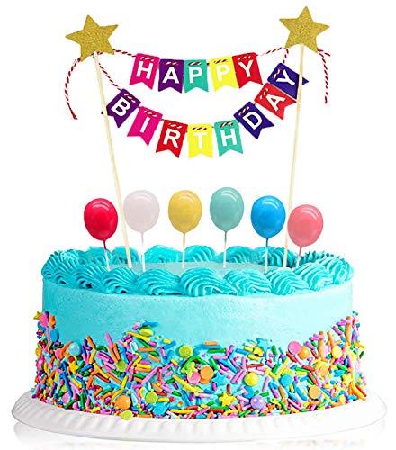 """Geburtstagstorte Dekoration Cake Topper, """"Happy Birthday""""Kuchen Bunting Banner Topper,Tortendeko mit 6PCS Ballon Toppe für Kinder, Männer, Mädchen geeignet für alle Geburtstagsfeiern (bunt)"""