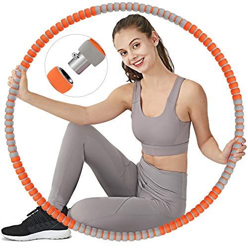 TvvaaFog Hula Reifen Hoop Fitness Erwachsene Hoop Mit Massage-Design, Stabiler Edelstahlkern mit Premium Schaumstoff, Komfortabler und Längeres Leben, 1,2 kg zum Abnehmen (Orange-Grau)
