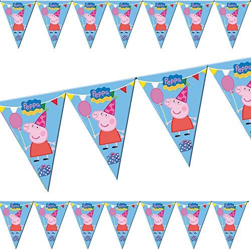 3m Wimpelkette * Peppa Pig * als Deko für Kindergeburtstag & Motto-Party | beidseitig farbig Bedruckt | Kinder Geburtstag Mottoparty
