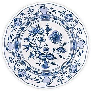 Blue Onion Traditional Porcelain Decor Soup Plate | Handmade European Quality | Deep Round Blue and White 8.3
