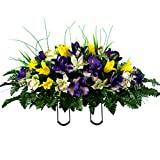 Sympathy Silks Artificial Cemetery Flowers – Realistic Vibrant Tulips, Outdoor Grave Decorations - Non-Bleed Colors, and Easy Fit - Yellow Purple Tulip Saddle
