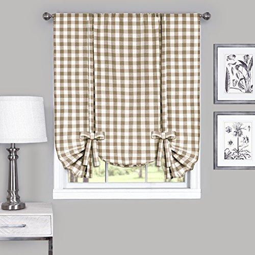 "Achim Home Furnishings Tie Up Shade Buffalo Check Window Curtain, 42"" x 63"", Taupe & Ivory"