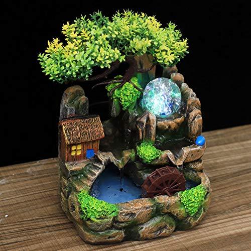 Fontanella Decorativa da Interni, Fontana Zen da Tavolo con Atomizzatore e Luce LED, Fontana a Cascata Leggera Zen per Casa per Relax All