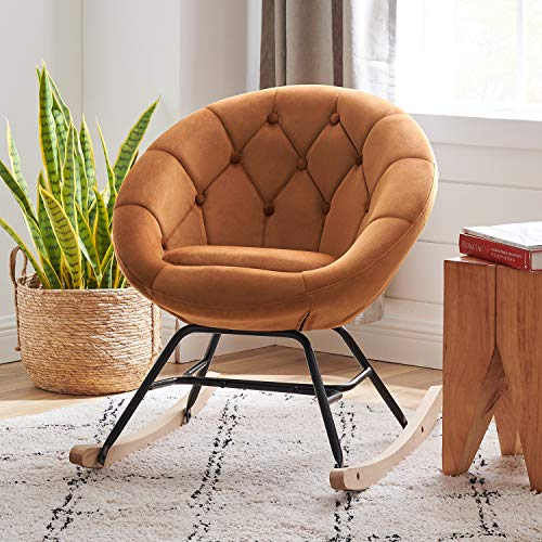 Volans Mid Century Modern Round Back Velvet Tufted Upholstered Rocking Chair Padded Seat for Living Room Bedroom, Orange