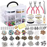 Aardich Suministros fabricación de Joyas Pendiente DIY Kit Set con Cuentas Alicates rebordeando el Alambre de la Pulsera del Collar Pendientes 1171PCS