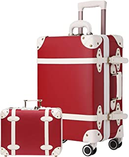 Vintage Luggage Sets Carry On Suitcase Leather TSA lock Luggage Set 2 Piece Retro Style for Women Luggage with wheels (Red, 20