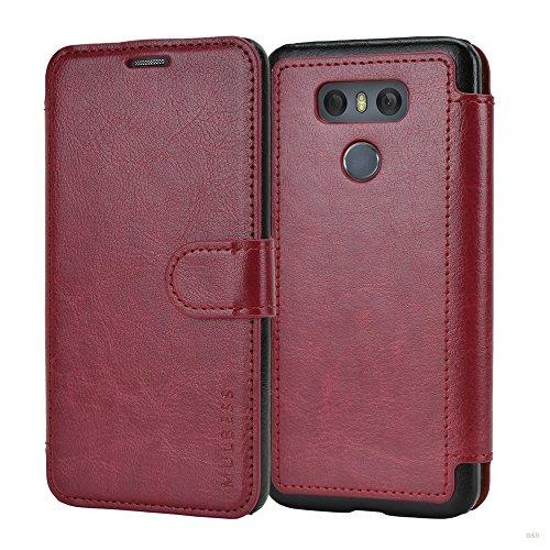 Mulbess Coque pour LG G6, Etui LG G6 Cuir avec Magnetique, Layered Housse Protection pour LG G6 Case, Vin Rouge