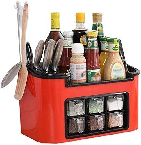 Qingluan Utensilios de cocina Estante de cocina, almacenamiento para especias, caja de titular de herramientas para especias Botellas Estantes para palillos Caja de caja Armario Organizador de gabinet