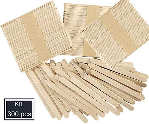 Okaytec Kit 300 Stück Eisstiele aus Holz Holzstäbchen Holzspatel Bastelholz, Holzstäbchen zum Basteln Holzstab Holzstiele Holzstäbe für EIS am Stiele, Wachsen und Basteln DIY Handwerk