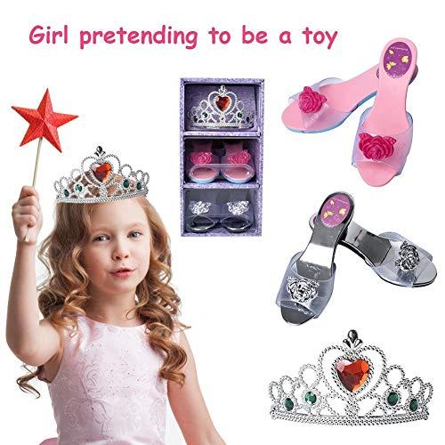 Kinder Prinzessin Verkleiden Rollenspiele-Sammlung Schuh Set Simulation Schmuck Boutique Mit Krone Set Und High Heels Für Mädchen Verkleiden, Age 3-10 Jahre Alt
