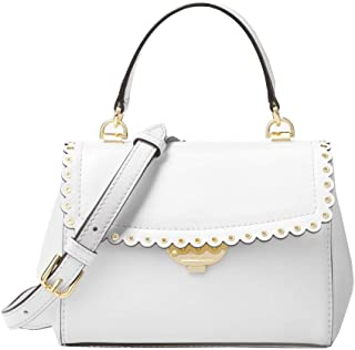 Michael Kors Ava Scalloped Extra-Small Text Polished Leather Crossbody Bag