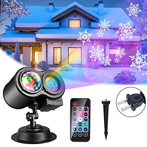Eiyeckn Christmas Projector Lights 2-in-1 Moving Patterns LED Landscape Lights Waterproof Outdoor Indoor Xmas Theme Party Yard Garden Decorations, 16 Slides 10 Colors US Plug