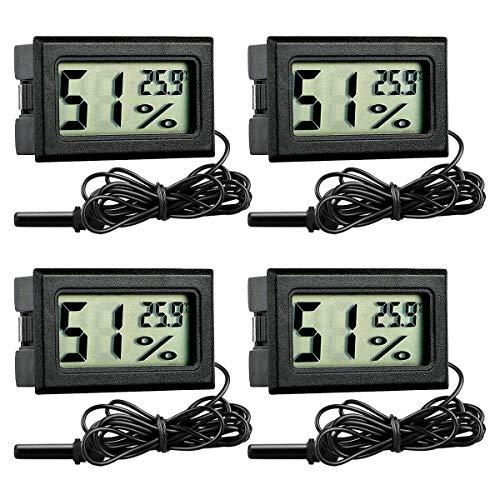 GuDoQi Digital Thermometer Hygrometer, 4 Stück, Mini Digital Temperaturmesser Feuchtigkeitsmesser mit Sonde für Reptilien, Inkubator, Aquarium, Gewächshaus, Autos, Zuhause, Büro