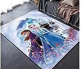 GOOCO Alfombra Rectangular -Alfombra Frozen Anime Chica Dormitorio Alfombrilla Habitación para niños Alfombra Antideslizante Princesa de Dibujos Animados