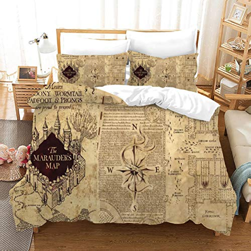 Zbeiba Duvet Cover Harry Potter Bedding Sets 3D Duvet Cover, 100% Cotton Duvet Cover Sets with 2 Pillowcase,#5,duvet cover king size,220 * 230cm, No Comforter and Sheet