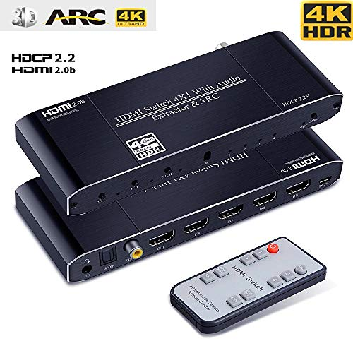 HDMI Switch 4 in 1 Out,Anbear HDMI to Toslink+Coaxial+3.5mm Audio Out with IR Remote Control, HDMI...