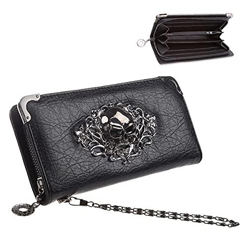 JunNeng Bolso largo de piel para mujer, con bolsillo con cremallera, ranuras para tarjetas de crédito, bolsa de embrague elegante, calavera - negro (Multicolor) - B347JNB21-001-BlackSkull