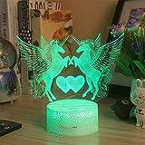 3D Lampe Illusion Optique LED, Toucher Lampe de Chevet Chambre Table Art Déco Enfant USB Lampe de Table pour Des Cadeaux De Vacances ou Décorations pour La MaisonLicorne