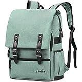 Junlion Solid Color Laptop Backpack for College Student Casual Rucksack Canvas Travel Bag for Preppy Freshman Light Green