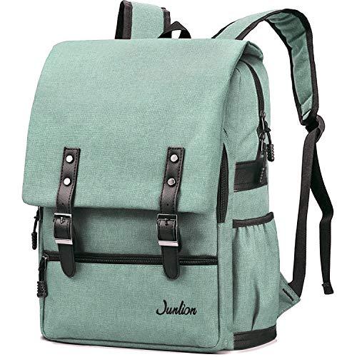 Junlion Einfarbig Laptop Rucksack für Studenten Lässiger Rucksack Canvas Reisetasche für Adrett Frau und Mann Hellgrün