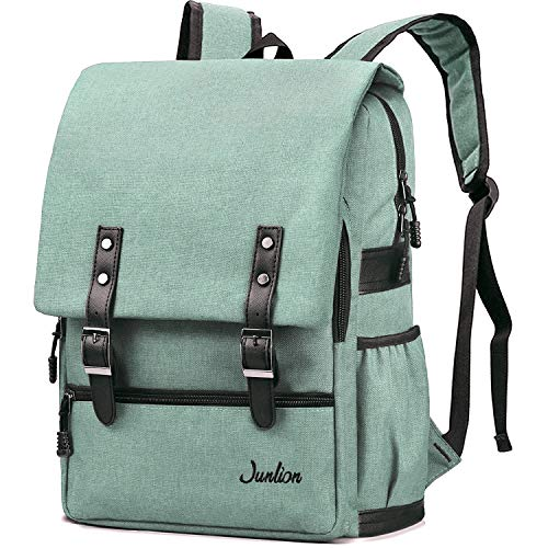 Junlion Solid Color Laptop Backpack for College Student Casual Rucksack Canvas Travel Bag for Preppy Freshman Light Green