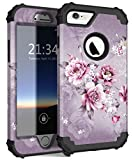 Hocase for iPhone 6s Case/iPhone 6 Case, Shockproof Heavy Duty Soft Silicone Rubber+Hard Plastic Bumper Hybrid Protective Case for iPhone 6s/iPhone 6 (4.7-inch Display) - Light Purple Flowers