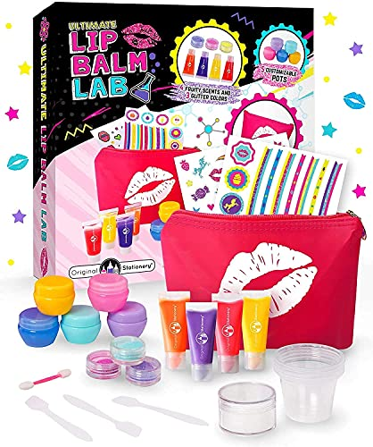 Original Stationery Make Your Own Lip Balm Lab, Great Makeup Kit for Girls, DIY Lip Gloss Making Kit and Lip Balm Making Kit, Perfect Gift for 9 Year Old Girl and 11 Year Old Girl Gift Ideas