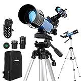 Aomekie Telescopio para Niños 70mm Telescopio Astronómico Profesional para Adultos Principiantes con Adaptador de Teléfono 10X Mochila Buscador de Trípode Ajustable Filtro de Luna y Lente Barlow 3X
