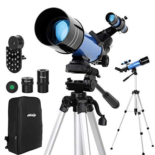 Aomekie Telescopio Astronomico 70mm Adatto per Adulti Bambini Principianti con Adattatore per Telefono 10X Zaino Regolabile con Filtro per Treppiede e Lente 3x Barlow