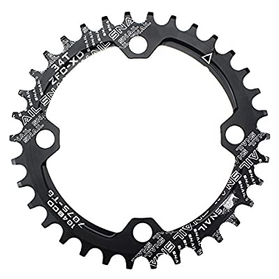 Narrow Wide Chainring 104BCD 38T CYSKY 4 Bolts Bike Single Chainring for 9 10 11 Speed, Perfect for Most Bicycle Road Bike Mountain Bike BMX MTB Fixie Track Fixed-Gear Bicycle (Round, Black)