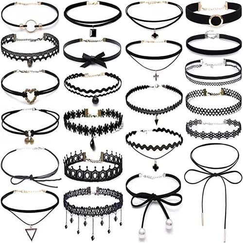 Black Choker Necklaces 23Pcs Lace Choker Set Tattoo Choker Goth Cute Neck Chocker Neckless for Women Teen Girl Trendy Sexy Stretchy 90s Choker Necklace for Party Wedding Birthday Valentine Day