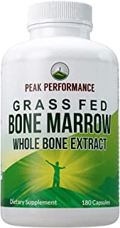 Grass Fed Bone Marrow - Whole Bone Extract Supplement 180 Capsules by Peak Performance. Superfood Pills Rich in Collagen, ...