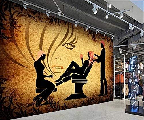 Fotobehang voor kapsalons in retro-look. 200cmx140cm