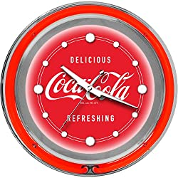 Coca-Cola Chrome Double Ring Neon Clock, 14