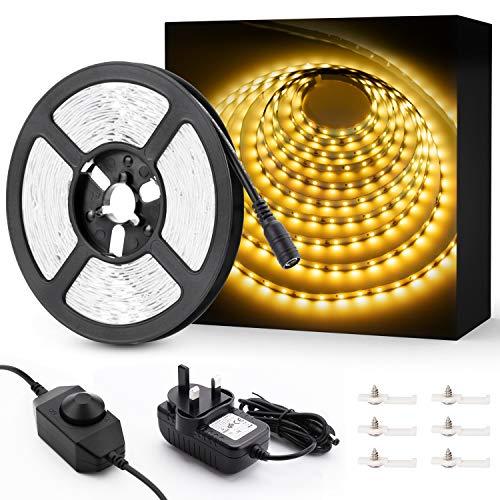 Novostella 6 m weißes LED-Streifen-Set, 1800 lm, dimmbar, 360 Einheiten SMD 2835 LEDs, 12 V Klebeband, 3000 K warmweißes Band mit Adapter und Clips, für Treppenhaus, Heimdekoration, Schrank