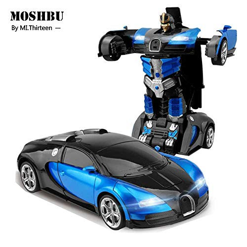 Moshbu Transform RC Car Robot, 360° Rotating Toys Transformers Robot One-Button Gesture Induction Deformation Function Car Toy With Bugatti Rambo Style For Kids Birthday Party Gift Racing Competition