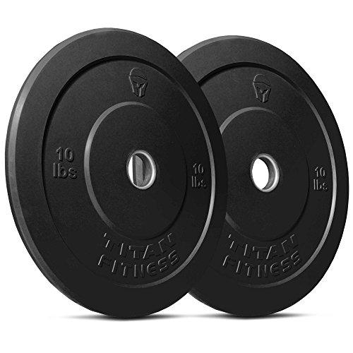 Titan Fitness Pair 10 lb Olympic Bumper Plate Black Benchpress Strength Training