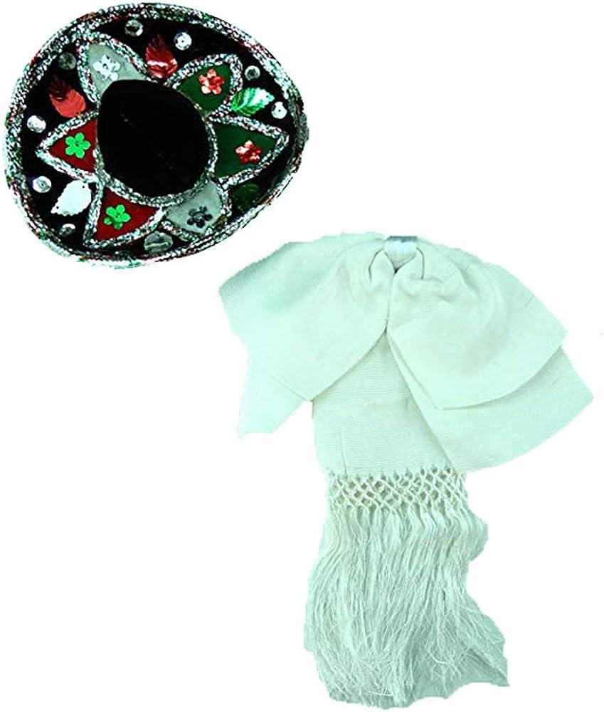 Mexican Charro Bow Tie White elastic band