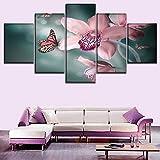 QWRTU Cuadro sobre Impresión Lienzo 5 Piezas Orquídea y Mariposa Reflejos Moderno Cuadro En Lienzo 5 Piezas Salón De Hogardecoracion De Pared HD Mural Moderno Decoración hogareña(Enmarcado)