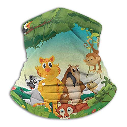 Linger In Escena de Bosque zoológico con Diferentes Animales Hábitat Selva Ambiente Tropical Niños Dibujos Animados Cuello Calentador Cuello Polaina Pasamontañas