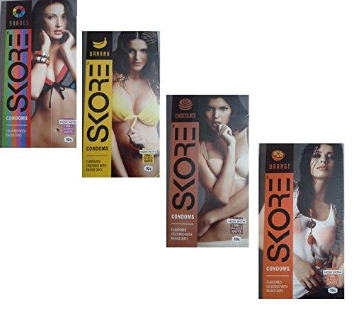 Skore Flavored Condom (Set of 4) 10 Pieces Each - Pamherbals