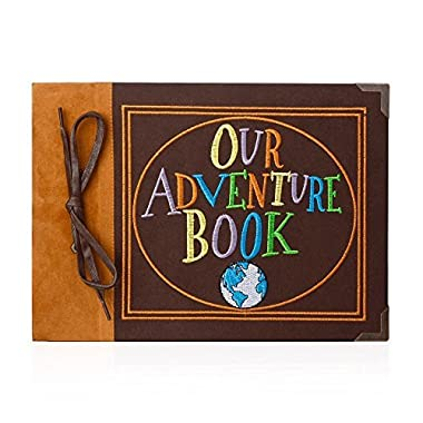 T-HAOHUA Our Adventure Book Photo Album Scrapbook : Anniversary And Wedding Memory Book With Embroidered Leather Hard Cover – Thread-Bound Book With Thick White Paper Sheets For Photographs