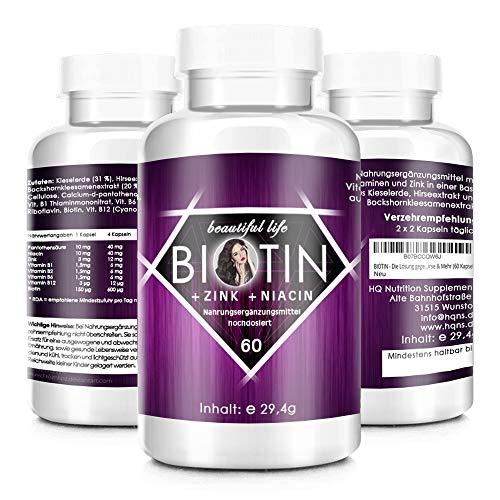 HQ BIOTIN - Die Lösung gegen Haarausfall - Starke Formel - Hochdosiert - Haar-Vitamine für Haarwuchs - Biotin, Zink, Selen, Hirse & Mehr - hergestellt in Deutschland