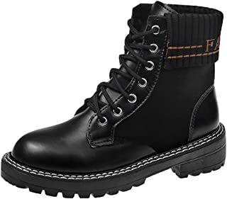 〓COOlCCI〓Womens Round Toe Military Lace up Knit Ankle Cuff Low Heel Combat Boots Low Heel Mid-Calf Boots Ankle Bootie