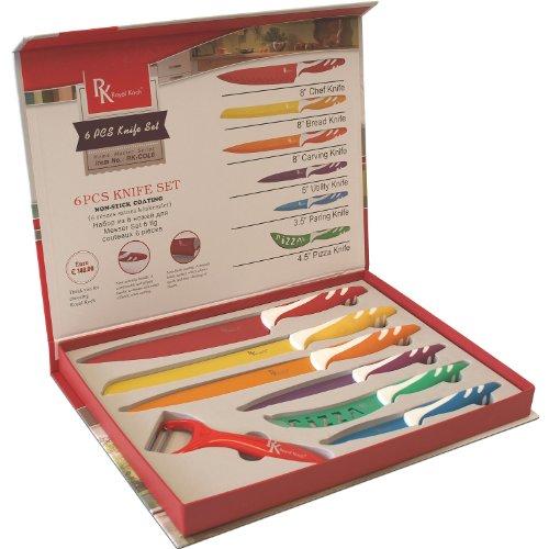 7tlg. Messer-Set + Sparschäler Kochmesser Brotmesser Fleischmesser Universalmesser Schälmesser Pizzamesser Küchenmesser Antibakteriell