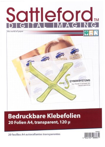 Sattleford Bedruckbare Klebefolie: 20 Klebefolien A4 transparent für Inkjet (Etiketten transparent Inkjet)