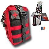 ' Trousse de Premiers Secours Tactique Molle kit Complet Made in France 103 Pcs Compact,Pratique,Se Fixe à la Ceinture.Conçue pour la Maison,la randonnée,Travail,Voiture,Sport Militaire…