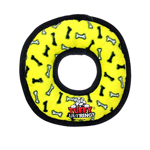 TUFFY Ultimate Ring, Durable Dog Toy (Regular, Yellow Bone)