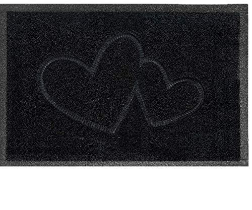 Majo Lifestyle Fussmatten Innenbereich und Außenbereich - Robuste Gummi Haustür Fußmatten - Badezimmer Teppich - Fussabtreter Geschenk - Haustiermatte - Willkommen Fußmatte außen (Schwarz)